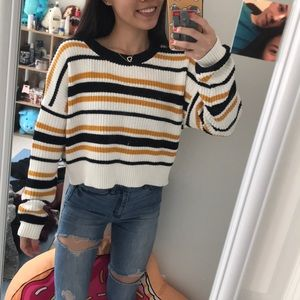 White, Navy, Gold Sweater